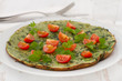 omelet with spinach and tomato on the plate