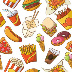 Junk Food Seamless Pattern
