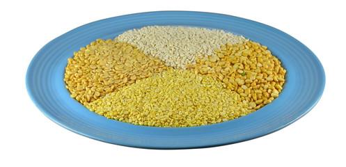 Split beans on a ceramic plate