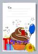 Grusskarte mit Muffin und Geschenken