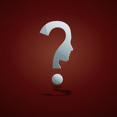 Human Doubt, question mark in the head # Vector