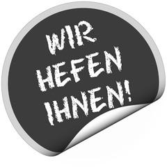 TF-Sticker rund curl unten WIR HELFEN IHNEN!
