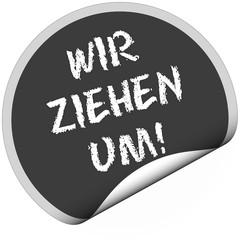 TF-Sticker rund curl unten WIR ZIEHEN UM!