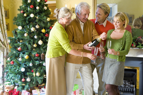 Family of four with champagne by Christmas tree, smiling
