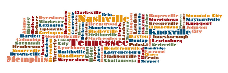 word cloud map of Tennessee state, usa