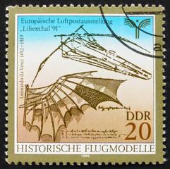 Postage stamp GDR 1990 Flying Machine by Leonardo da Vinci