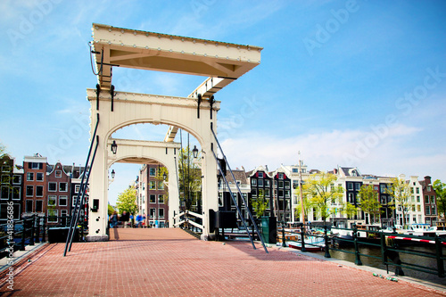 Canvas Amsterdam The Magere Brug, Skinny Bridge. Amsterdam