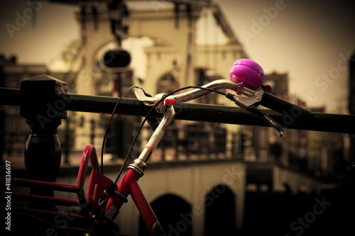 The Magere Brug, Amsterdam. Bike close up