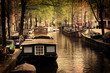 Amsterdam. Romantic canal, boats.