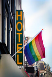 Hotel and Rainbow Flag symbol of homosexual