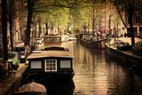 Fototapety Amsterdam. Romantic canal, boats.