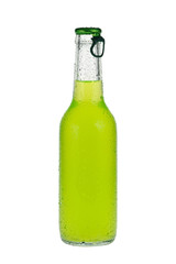 Green beverage in glass bottle
