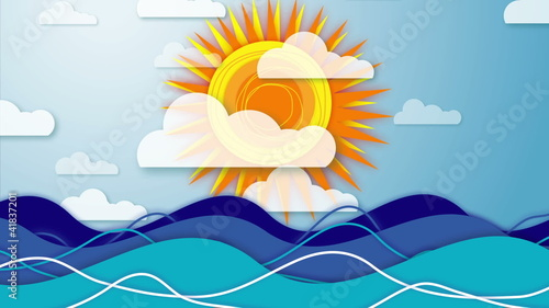Animation of sky with rotating sun,  moving clouds & waves..