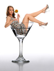 Young Woman in a Martini Glass