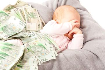 Little children sleep under a lot of money