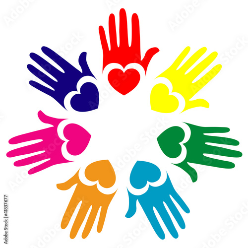 Colorful hands vector.