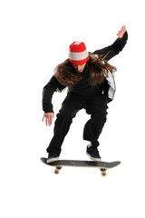 Young man jumping on a skateboard