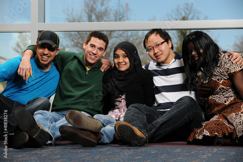 Diverse Group of Students smiling and having a good time
