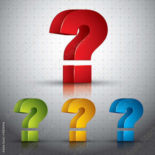 3d question mark vector icon, set of color versions.