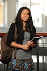 Young asian woman in college