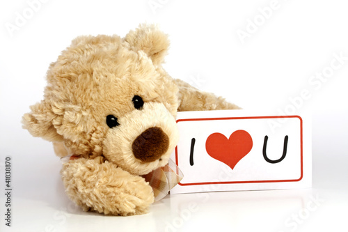 Teddy bear with I Love You Sign