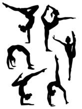 Sylwetki dziewcząt gimnastyków