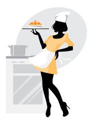 Baker girl silhouette