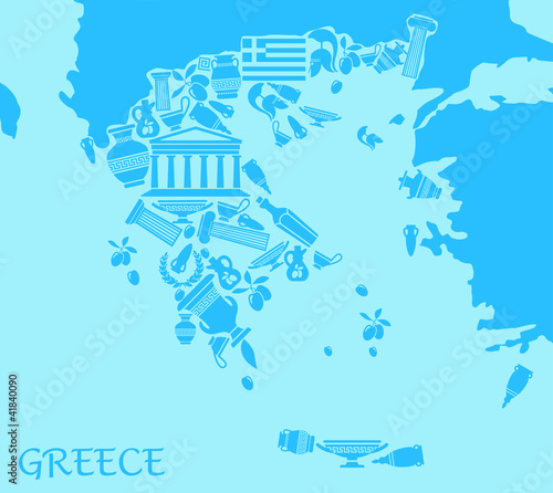Greece map in the form of traditional symbols