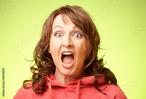 Screaming shocked woman
