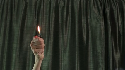 woman hands moving fired lighter