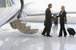 Businessman and woman shaking hands by aeroplane on runway, side view