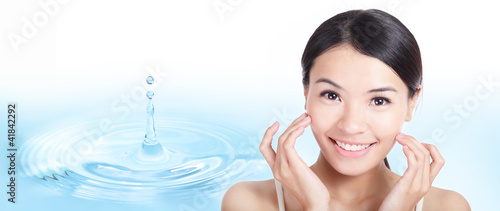 Skincare woman face with water drop background