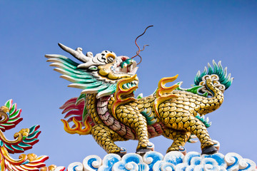 Glance of the Dragon on Thai temple roof