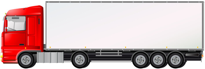 isolated red truck on white background with space for text