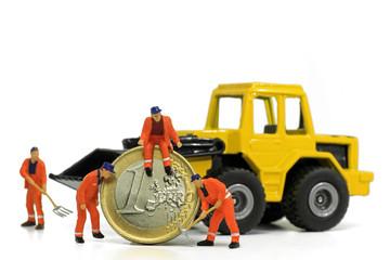 bauarbeiter mit euro