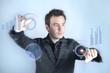 men work futuristic touchscreen evolution graphic