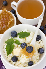 Dieting cottage cheese with honey and blueberries