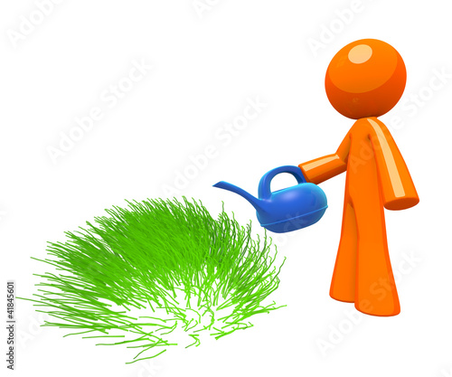 3d Orange Man Watering Grass