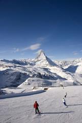 Skiers on Matterhorn
