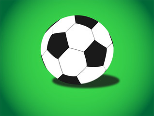 Illustration of soccer ball on green background