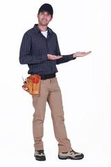 Laborer showing work