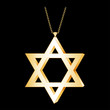 Gold Star of David Pendant, chain necklace, isolated on black