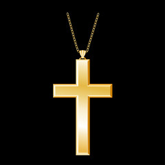 Christian Cross Gold Pendant, chain necklace, isolated on black