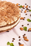 sweet tiramisu cake with almonds