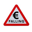 """Falling Euro"" Road Sign on White"