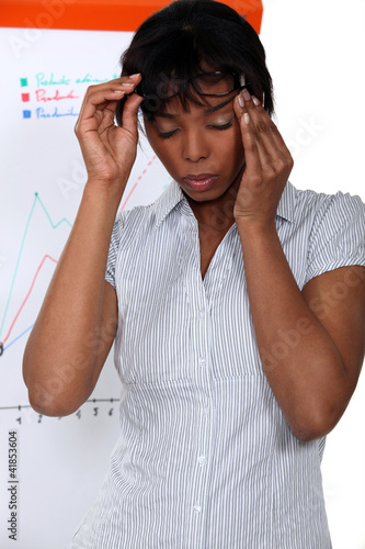 Businesswoman suffering from stress headache