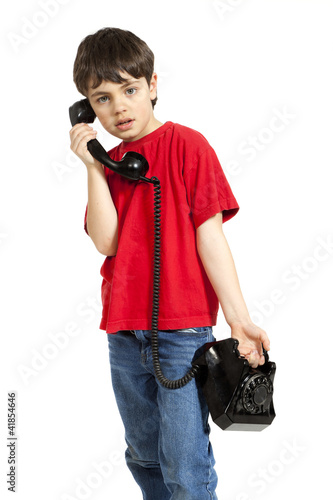little boy on the phone, isolated on white background