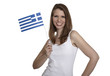 Attractive woman shows Greece flag and smiles
