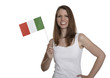 Attractive woman shows flag of Italy
