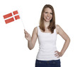 Attractive woman shows flag of Denmark and smiles
